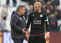 Football - 2016 / 2017 Premier League - West Ham United vs. Leicester city<br /> <br /> Leicester city caretaker Manager Craig Shakespeare with Kasper Schmeichel after the match at The London Stadium.<br /> <br /> COLORSPORT/ANDREW COWIE