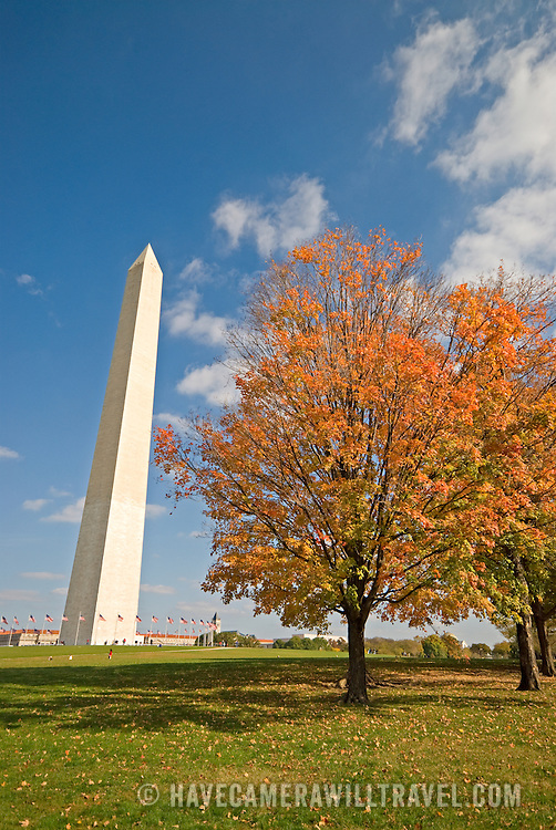Washington Monument with fall leaves