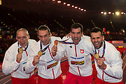 Poland Men's 4 x 400m relay team pose with their gold medals at the IAAF World Indoor Championships day four at the National Indoor Arena, Birmingham, United Kingdom on 4 March 2018. Photo by Martin Cole.