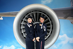 November 12, 2017 - Athens, Attica, Greece - Aegean Airlines Crew poses in front of a turbine during the 35th Athens Classic Marathon in Athens, Greece, November 12, 2017. (Credit Image: © Giorgos Georgiou/NurPhoto via ZUMA Press)