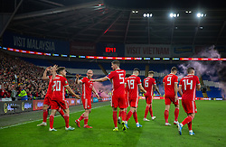 CARDIFF, WALES - Friday, September 6, 2019: Wales' Gareth Bale (far left) celebrates after scoring his side's second goal during the UEFA Euro 2020 Qualifying Group E match between Wales and Azerbaijan at the Cardiff City Stadium. (Pic by Mark Hawkins/Propaganda)