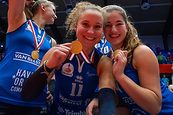 Ana Rekar #11 of Sliedrecht Sport, Jolijn de Haan #4 of Sliedrecht Sport celebrate after the cup final between Sliedrecht Sport and Laudame Financials VCN on February 16, 2020 in De Maaspoort in Den Bosch.