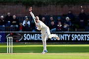 Jack Leach of Somerset bowling during the Specsavers County Champ Div 1 match between Somerset County Cricket Club and Lancashire County Cricket Club at the Cooper Associates County Ground, Taunton, United Kingdom on 13 September 2017. Photo by Graham Hunt.