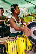 Rehearsal of celebration and Nat dancers on Bilu Island. Shan State, Myanmar