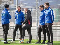 06.03.2019, Tivoli Stadion Tirol, Innsbruck, AUT, 1. FBL, FC Wacker Innsbruck, Training, im Bild v.l. Co-Trainer Thomas Perstaller, Co-Trainer Florian Schwarz, Trainer Thomas Grumser, Masseur Patrick Bernhaupt, Pysio Maximilan Schweiger // during a trainings session of the new head coach Thomas Grumser of the tipico-Bundesliga club FC Wacker Innsbruck at the Tivoli Stadion Tirol in Innsbruck, Austria on 2019/03/06. EXPA Pictures © 2019, PhotoCredit: EXPA/ Johann Groder