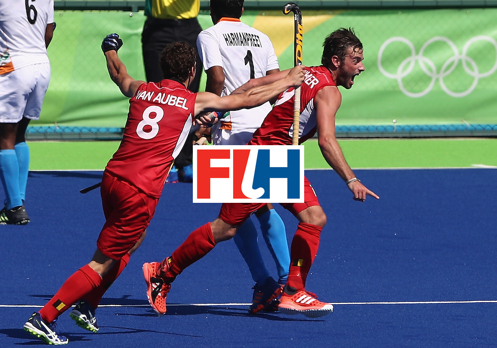 RIO DE JANEIRO, BRAZIL - AUGUST 14:  Sebastien Dockier of Belgium celebrates after scoring his first goal of two in their 3-1 victory during the Men's hockey quarter final match between Belgium and India on Day 9 of the Rio 2016 Olympic Games at the Olympic Hockey Centre on August 14, 2016 in Rio de Janeiro, Brazil.  (Photo by David Rogers/Getty Images)