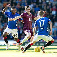 Rangers v St Johnstone…23.09.18…   Ibrox     SPFL<br />Blair Alston gets between Alfredo Morelos and Ross McCrorie<br />Picture by Graeme Hart. <br />Copyright Perthshire Picture Agency<br />Tel: 01738 623350  Mobile: 07990 594431