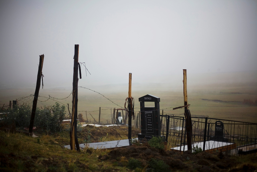 A cemetary.  South African Gold miners are particularly vulnerable to contracting TB because of the small, poorly ventilated work conditions, high rates of TB and high rates of silicosis, a lung disease often found in miners that increases the chance of catching TB.