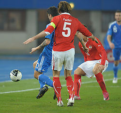 17.11.2010, Ernst Happel Stadion, Wien, AUT, Freundschaftliches Länderspiel, Österreich vs Griechenland, im Bild gr20# vs Christian Fuchs, (Österreich, #5), rechts Marko Arnautovic, (Österreich, #11) // during international friendly football match, Austria vs Greece at Ernst-Happel-Stadion Vienna on 17/11/2010. EXPA Pictures © 2010, PhotoCredit: EXPA/ G. Holoubek