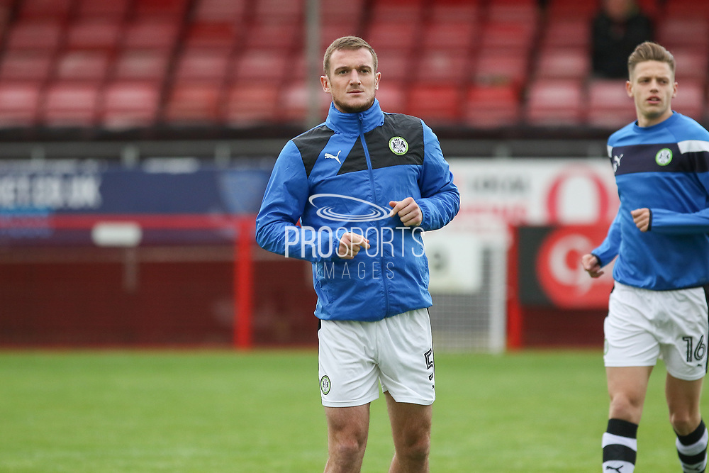 Forest Green Rovers Lee Collins (5) in warm up during the EFL Sky Bet League 2 match between Crawley Town and Forest Green Rovers at the Checkatrade.com Stadium, Crawley, England on 11 November 2017. Photo by Phil Duncan.