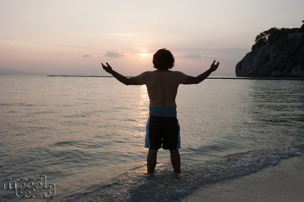 Rear view of young man with arms outstretched on beach at sunset