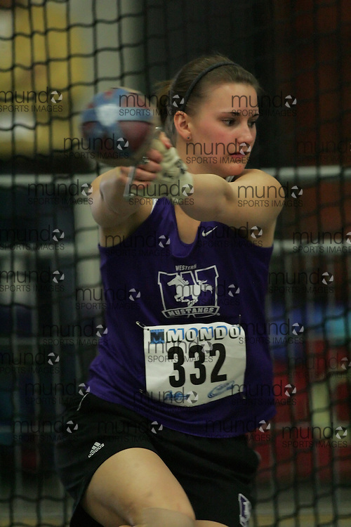 (Windsor, Ontario---11 March 2010) Jenine McCutcheon of University of Western Ontario Mustangs competes in the  competes in the  at the 2010 Canadian Interuniversity Sport Track and Field Championships at the St. Denis Center. Photograph copyright Sean Burges/Mundo Sport Images. www.mundosportimages.com
