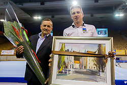 Coach Joze Mesl and athlete Aljaz Pegan of Slovenia when he retires   after succesfsul gymnastics career during Final day 2 of Artistic Gymnastics World Cup Ljubljana, on April 27, 2013, in Hala Tivoli, Ljubljana, Slovenia. (Photo By Vid Ponikvar / Sportida.com)