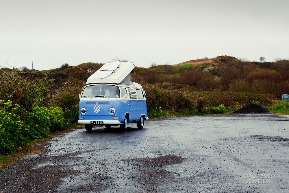 Parked VW camper van