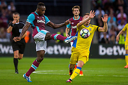 Michail Antonio of West Ham and Matic Crnic of NK Domzale during 2nd Leg football match between West Ham United FC and NK Domzale in 3rd Qualifying Round of UEFA Europa league 2016/17 Qualifications, on August 4, 2016 in London, England.  Photo by Ziga Zupan / Sportida