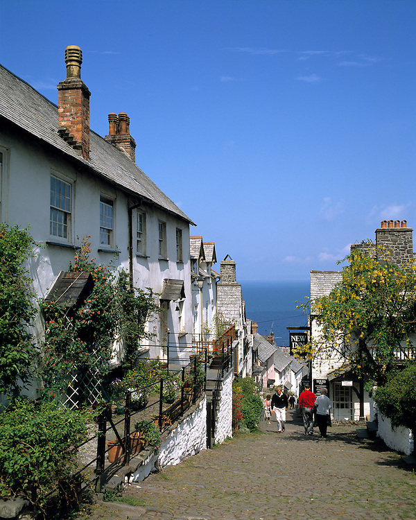 A steep walkway takes visitors to the shore in Clovelly, Devon, England.