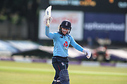 Tammy Beaumont of England (12) is out during the Royal London Women's One Day International match between England Women Cricket and Australia at the Fischer County Ground, Grace Road, Leicester, United Kingdom on 4 July 2019.