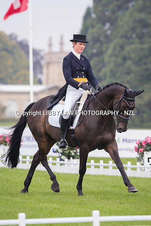 NZL-Juliet Wood (BOLD TRADER) INTERIM-=30TH: CCI3* FIRST DAY OF DRESSAGE: 2014 GBR-Blenheim Palace International Horse Trial (Thursday 11 September) CREDIT: Libby Law COPYRIGHT: LIBBY LAW PHOTOGRAPHY - NZL