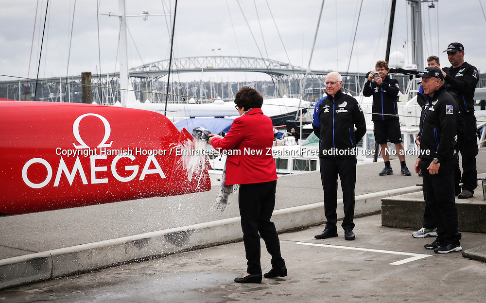Lady Margret Tindall christens the new Emirates Team New Zealand AC45 test & development boat at their base in Auckland.
