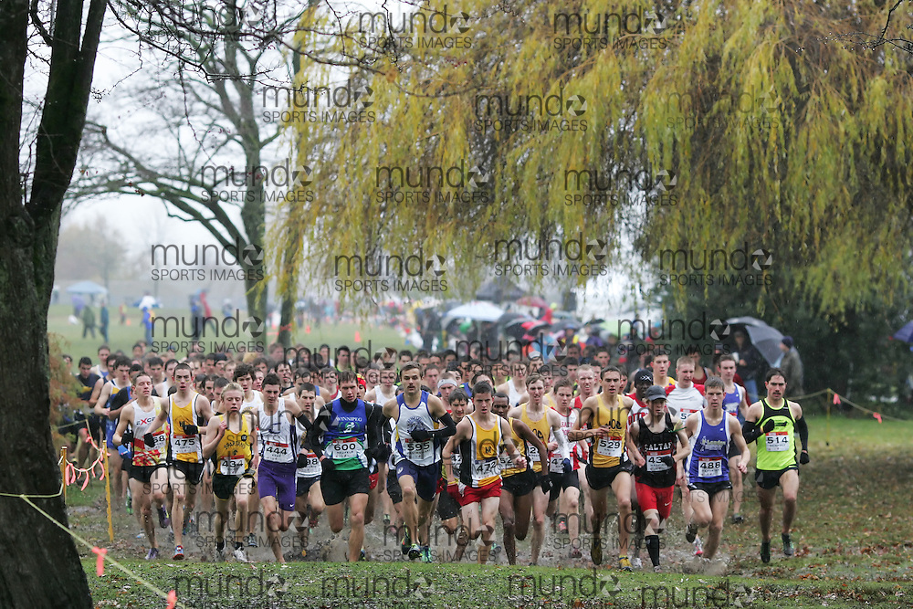 (Vancouver, Canada---26 November 2011) \start of the junior boys race\ running in the junior boys / mens race at the 2011 Athletics Canada National Cross Country Championships held at Jericho Beach Park. Photograph 2011 Copyright Sean Burges / Mundo Sport Images. For usage terms contact info@mundosportimages.com or seanburges@yahoo.com.