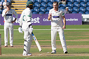 Graham Wagg confronts Hassan Azad during the Specsavers County Champ Div 2 match between Glamorgan County Cricket Club and Leicestershire County Cricket Club at the SWALEC Stadium, Cardiff, United Kingdom on 17 September 2019.