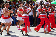Dancers in a parade during Romerias de Mayo in Holguin, Cuba.
