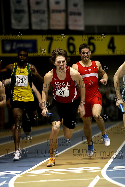 Windsor, Ontario ---14/03/09--- Connor Bays of  McGill University competes in the Men's 4x400m Relay at the CIS track and field championships in Windsor, Ontario, March 14, 2009..Sean Burges Mundo Sport Images