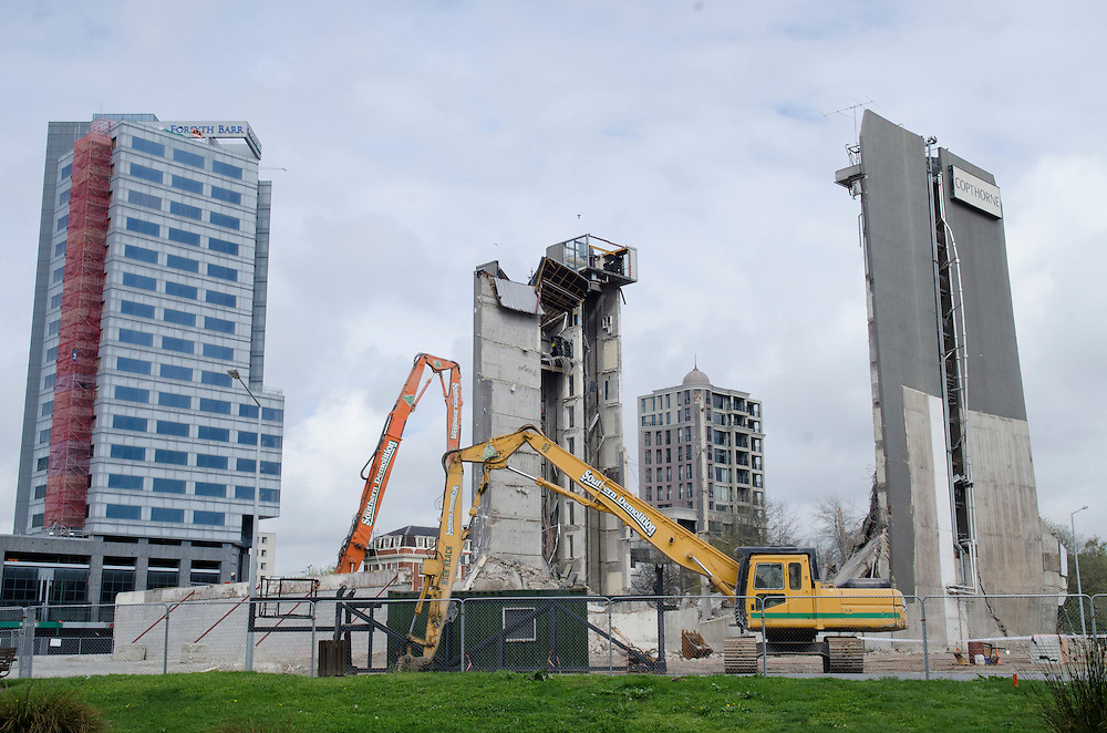 The remains of the Copthorne Hotel on Victoria Square after the centre collapsed on Saturday part way through earthquake demolition, Christchurch, New Zealand,  Monday September 30, 2013. Credit: SNPA /  David Alexander.