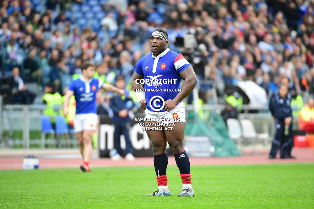 Demba Bamba of France during the Guinness Six Nations match between Italy and France on March 16, 2019 in Rome, Italy. (Photo by Dave Winter/Icon Sport)