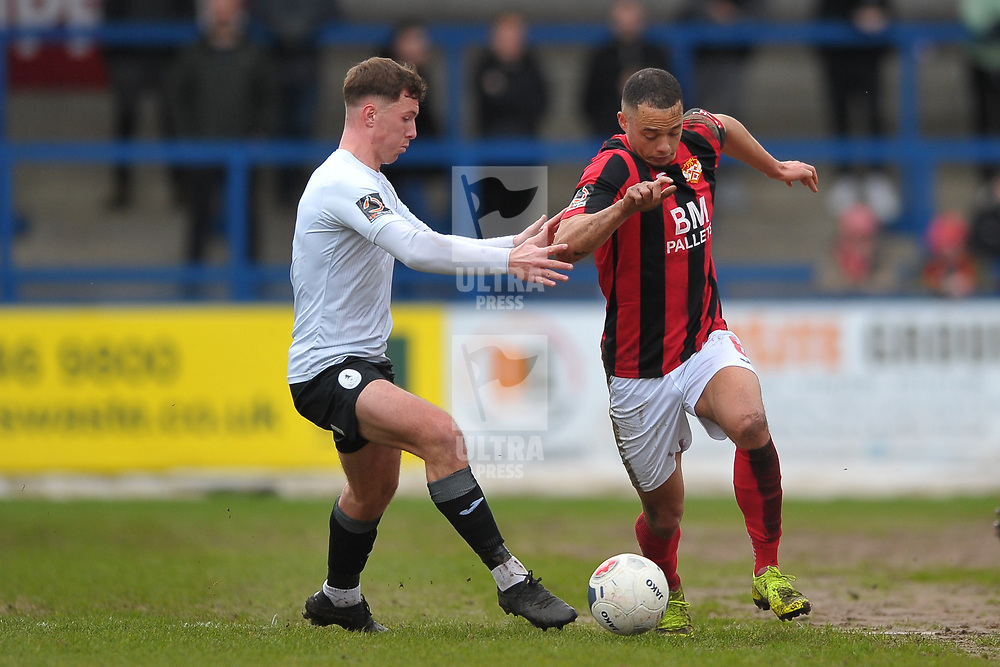 TELFORD COPYRIGHT MIKE SHERIDAN Ryan Sears of Telford (on loan from Shrewsbury Town) and Tre Mitford of Kettering  during the Vanarama Conference North fixture between AFC Telford United and Kettering at The New Bucks Head on Saturday, March 14, 2020.<br /> <br /> Picture credit: Mike Sheridan/Ultrapress<br /> <br /> MS201920-050