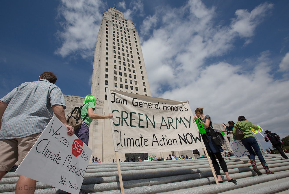 March 8, 2014, Baton Rouge,  Louisiana, Crowd of about one hundred people at the Water Festival a 'Green Army' event, before the start of the next legislature session. <br /> Speakers including John Barry, former board member of the Southeast Louisiana Flood Protection Authority spoke about industry in Louisiana and their role in restoring the coast. General Honore formed a 'Green Army 'to help citizens negatively effected by industry, change laws to protect the environmental in Louisiana.