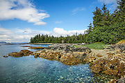 Rocky shoreline with calm water, blue sky, clouds and conifers, Prince wiliam sound, Alaska
