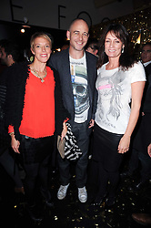 Left to right, DINOS & TIPHAINE CHAPMAN and TRICIA RONANE at a party to celebrate the launch of Lulu & Co held at the Fifth Floor Cafe, Harvey Nichols, Knightsbridge, London on 21st October 2010.