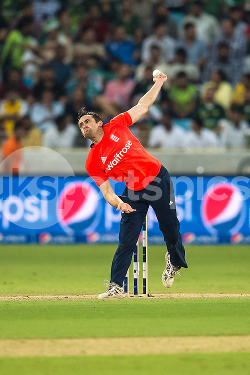 Stephen Parry of England bowling during the 2nd International T20 Series match between Pakistan and England at Dubai International Cricket Stadium, Dubai, UAE on 27 November 2015. Photo by Grant Winter.