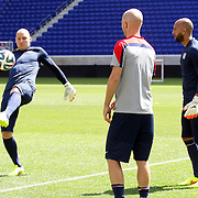 Goalkeeper Brad Guzan, (left), Tim Howard. (right) and Michael Bradley training with the US Mens National Team at Red Bull Arena in preparation for Sunday's game against Turkey as they prepare for the 2014 FIFA World Cup. Red Bull Arena, Harrison, New Jersey, USA. 30th May 2014. Photo Tim Clayton