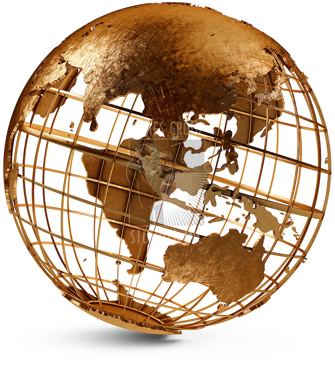 Metal globe showing the Eastern Hemisphere on a white background
