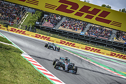 May 13, 2018 - Barcelona, Catalonia, Spain - LEWIS HAMILTON (GBR) leads VALTTERI BOTTAS (FIN) during the Spanish GP at Circuit de Barcelona - Catalunya in his Mercedes W09 EQ Power  (Credit Image: © Matthias Oesterle via ZUMA Wire)