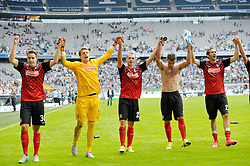 01.08.2015, Allianz Arena, Muenchen, GER, 2. FBL, TSV 1860 Muenchen vs SC Freiburg, 2. Runde, im Bild Chrstian Guenter (SC Freiburg), Alexander Schwolow, Torwart (SC Freiburg), Nicolas Hoefler (SC Freiburg), Marc Torrejon (SC Freiburg), Julian Schuster (SC Freiburg), v.li. jubeln // during the 2nd German Bundesliga 2nd round match between TSV 1860 Muenchen and SC Freiburg at the Allianz Arena in Muenchen, Germany on 2015/08/01. EXPA Pictures © 2015, PhotoCredit: EXPA/ Eibner-Pressefoto/ Buthmann<br /> <br /> *****ATTENTION - OUT of GER*****