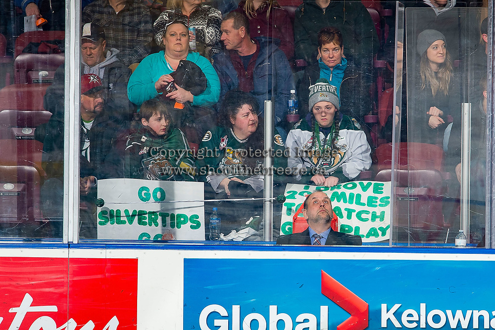 KELOWNA, CANADA - FEBRUARY 15: Everett Silvertips' fans sit in the stands against the Kelowna Rockets  on February 15, 2019 at Prospera Place in Kelowna, British Columbia, Canada.  (Photo by Marissa Baecker/Shoot the Breeze)