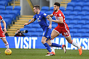 Middlesbrough forward Rudy Gestede (39) closes down Cardiff City midfielder Joe Ralls (8) 0-0 during the EFL Sky Bet Championship match between Cardiff City and Middlesbrough at the Cardiff City Stadium, Cardiff, Wales on 17 February 2018. Picture by Alan Franklin.
