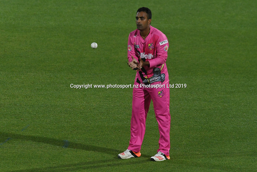 Northern Knights Tarun Nethula during the Burger King Super Smash T20 cricket match between the Central Stags and the Northern Knights, McLean Park, Napier, Friday, January 25, 2019. Copyright photo: Kerry Marshall / www.photosport.nz