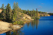 Boreal forest, lake and preCambrian Shield<br />  Yellowknife Highway<br /> Northwest Territories<br /> Canada