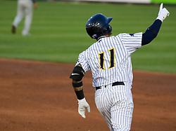 May 19, 2017 - Trenton, New Jersey, U.S - GLEYBER TORRES, an infielder for the Trenton Thunder, rounds the bases after hitting a grand slam in the third inning of the game versus the Portland Sea Dogs at ARM & HAMMER Park. (Credit Image: © Staton Rabin via ZUMA Wire)