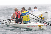 St Peter's Port, Guernsey, CHANNEL ISLANDS,  Pair, STEAD & WELLS [Jersey RC} cut in to the inside of RBS, Guernsey RC, as both crews approach a turning bouy in the course of Sun's, 2006 FISA Coastal Rowing  Challenge,  03/09/2006.  Photo  Peter Spurrier, © Intersport Images,