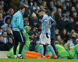 MANCHESTER, ENGLAND - Tuesday, March 15, 2016: Manchester City's Nicolas Otamendi goes off injured against FC Dynamo Kyiv during the UEFA Champions League Round of 16 2nd Leg match at the City of Manchester Stadium. (Pic by David Rawcliffe/Propaganda)