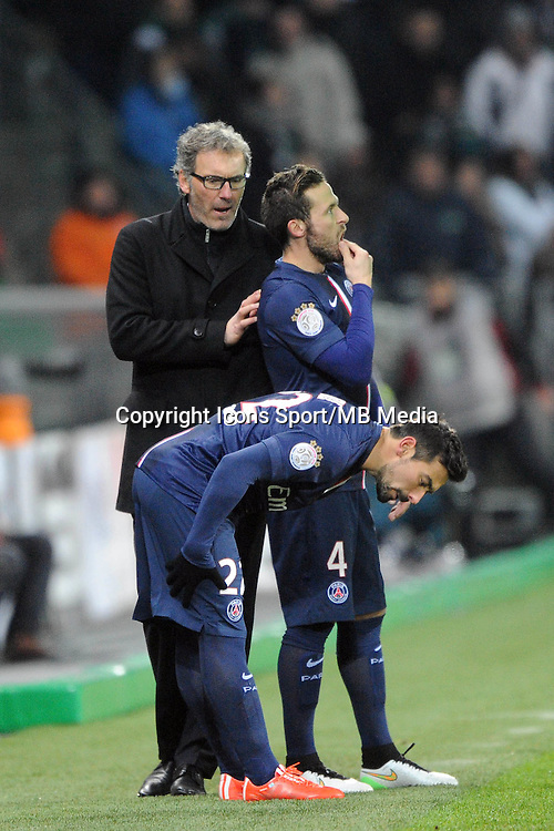 Laurent BLANC  / Ezequiel LAVEZZI / Yohan CABAYE - 25.01.2015 - Saint Etienne / PSG  - 22eme journee de Ligue1<br />