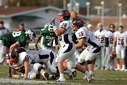 10 November 2007: Kyle Bradley steps into a pass.  This game between the Wheaton College Thunder and the Illinois Wesleyan University Titans was for a share of the CCIW Championship and was played at Wilder Field on the campus of Illinois Wesleyan University in Bloomington Illinois.