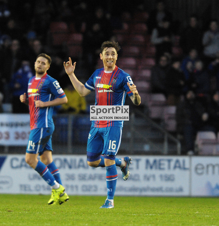 Greg Tansey (ICT, Blue &amp; Red, 16) scores the second goal direct from a free kick<br /> <br /> Inverness Caledonian Thistle v Ross County, Ladbroke's Premiership, Saturday 2nd January 2016<br /> <br /> (c) Alex Todd | SportPix.org.uk