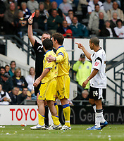 Photo: Steve Bond.<br />Derby County v Leeds United. Coca Cola Championship. 06/05/2007. Robert Bayly is shown the red card by referee Boyeson