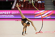 Alexandra Soldatova, Russia, during the 33rd European Rhythmic Gymnastics Championships at Papp Laszlo Budapest Sports Arena, Budapest, Hungary on 20 May 2017. The Russian team won the Gold medal. Photo by Myriam Cawston.